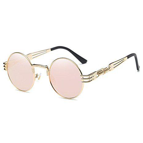 8921760a2b Joopin-Round Retro Polaroid Sunglasses Driving Polarized Glasses Men  Steampunk (Pink Punk)