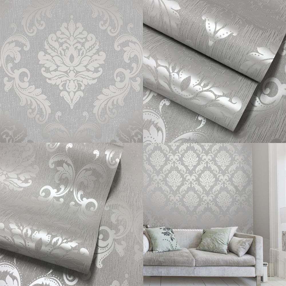 Henderson Interiors Chelsea Glitter Damask Wallpaper Soft Grey Silver H980504 Wallpaper Bedroom Wallpaper Living Room Room Wallpaper