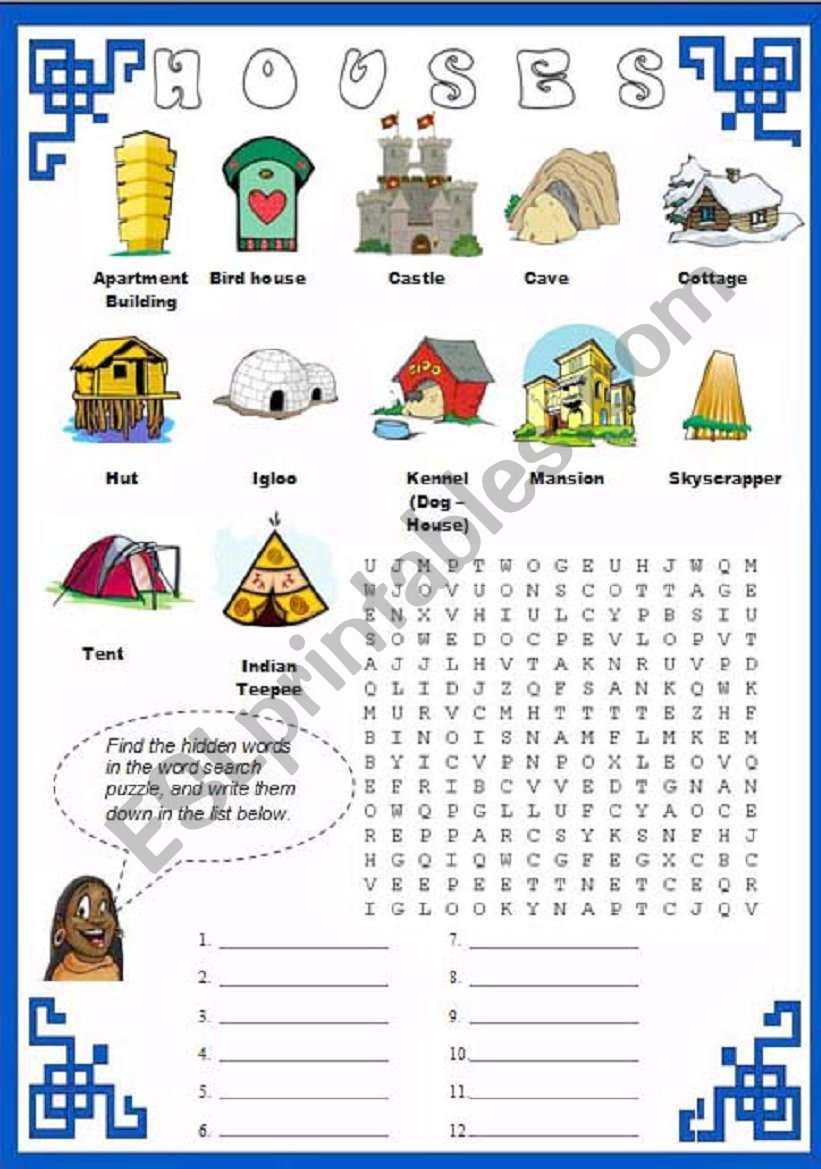 hight resolution of Vocabulary related to House Types´ + Crossword Puzzle.   Types of houses