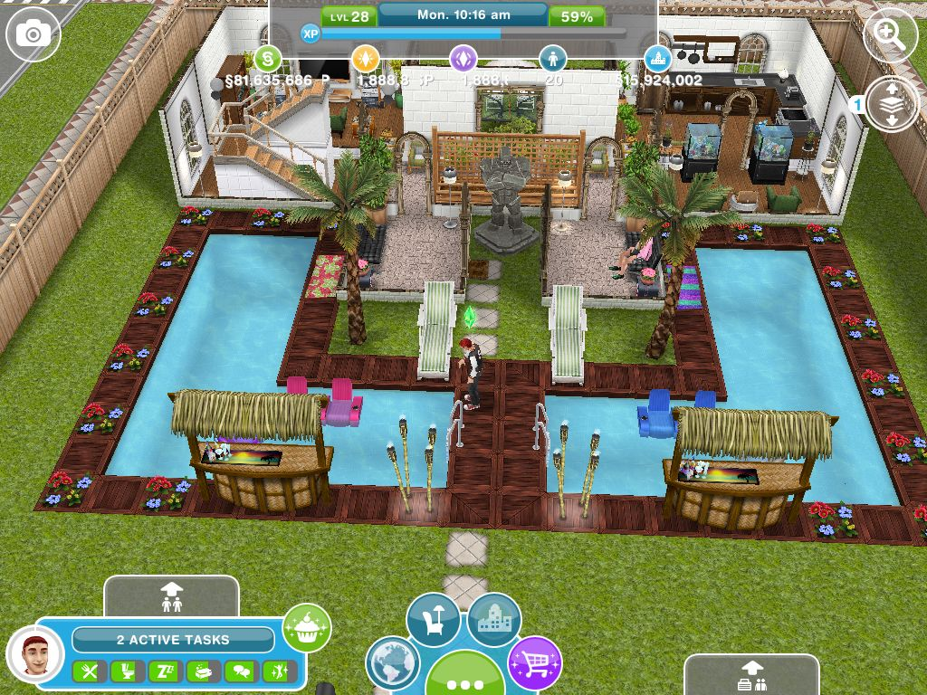 Alec lightwood 39 s two storey two pool house the entrance for Pool design sims 4