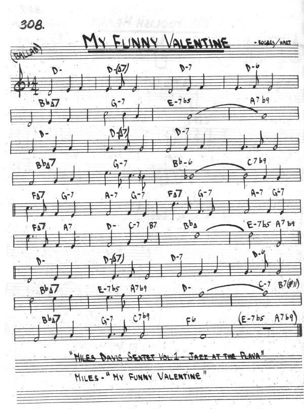 My Funny Valentine Rogers Hart Jazz Standard Saxophone Sheet Music Jazz Songs