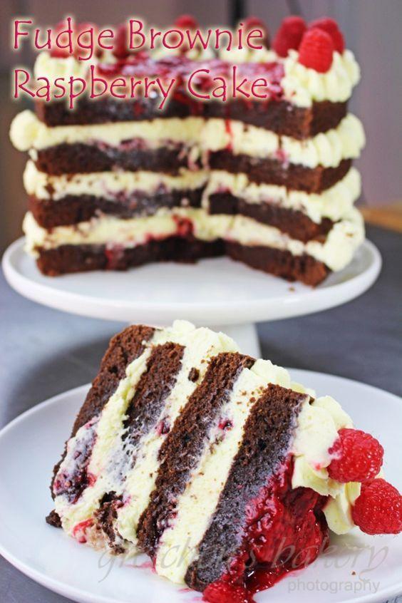Brownies Whipped Cream Raspberries Naked yummmm Desserts