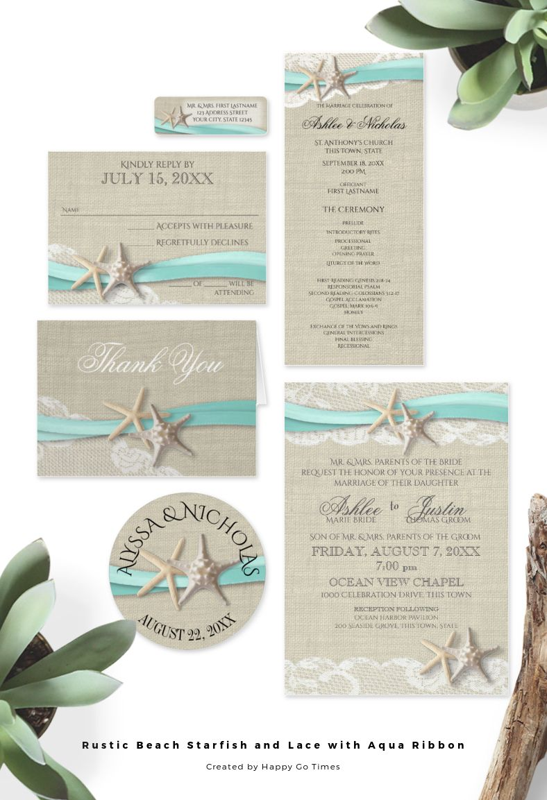 Turquoise Pink Starfish Themed Beach Wedding Beach Weddings