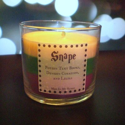 Snape scented 4 oz candle: potion books, dungon corridor, and lilies