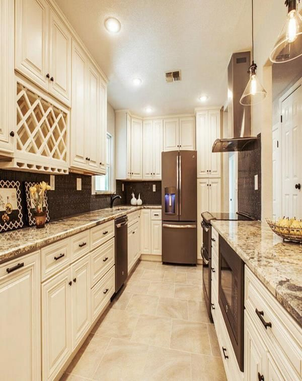 off white colors vanilla kitchen cabinets with granite ...