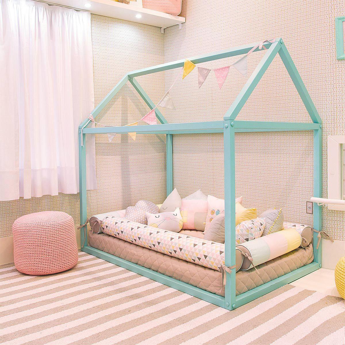 Cama Casinha Montessori Azul 03 Quartos De Beb Menina  ~ Quarto Montessoriano Espelho E Quarto Feminino Vermelho