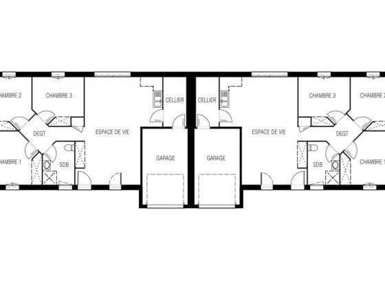 Plan modèle maison Althea | Plan de maison mitoyenne, Plan maison, Modèle maison