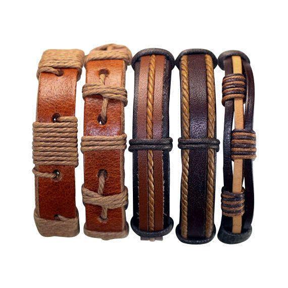 5 Piece Handmade Leather Bracelet Set Men's Leather Bracelet Women's Braided Leather Wrap Braclet  5P-531