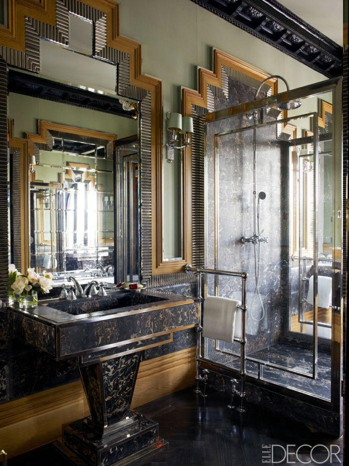 schwarzer Designer Waschbecken für das Badezimmer mit vergoldeten
