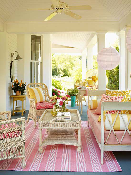 Love this porch.  Imagine the front porch with cream trim and green siding.  Pink and Lime accents complement and brighten the green siding.  The lime can be traded out with golds and hunter greens for the winter/Christmas season.