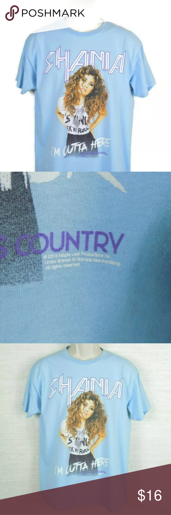Shania Twain I/'m Outta Here Rock This Country Tour Adult Blue T Shirt NEW
