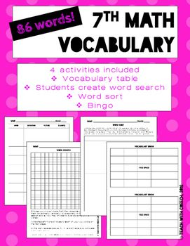 7th grade Math Vocabulary Worksheets and Activities - Bingo - Word ...