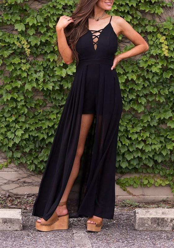 9f622c3e73 Black Lace-up Cut Out Spaghetti Strap Vegas Short Jumpsuit with Maxi Overlay