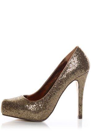 143c63ccea19 Mixx Shuz Laura 01N Gold Glitter Hidden Platform Party Pumps