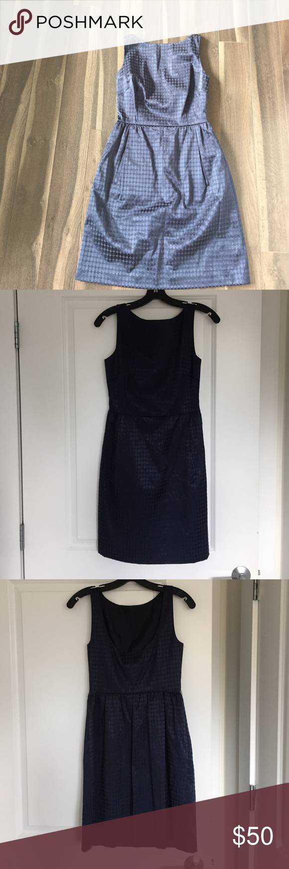 Navy blue cocktail dress Fully lined, perfect for cocktail party or wedding. Micheal Kors navy cocktail dress. Scooped back. MICHAEL Michael Kors Dresses