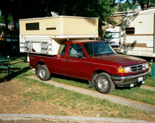 1997 ford ranger w 1988 four wheel camper pop up pickup truck camping pinterest truck. Black Bedroom Furniture Sets. Home Design Ideas