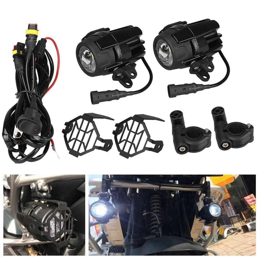 set 40w motorcycle led auxiliary fog light spot driving lamps with protect guards wiring harness for for bmw r1200gs f800gs [ 1000 x 1000 Pixel ]