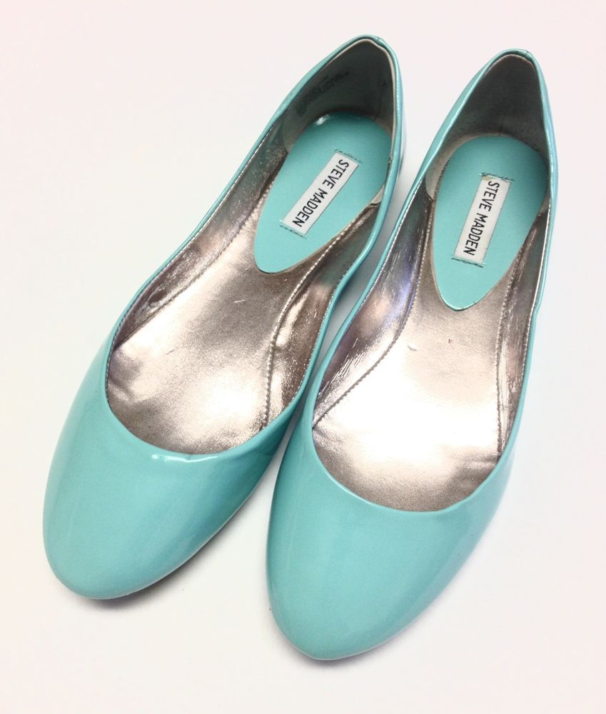 b279acd7ce3 Steve Madden Light Aqua Blue Faux Patent Ballet Flats Womens Size 12 ...