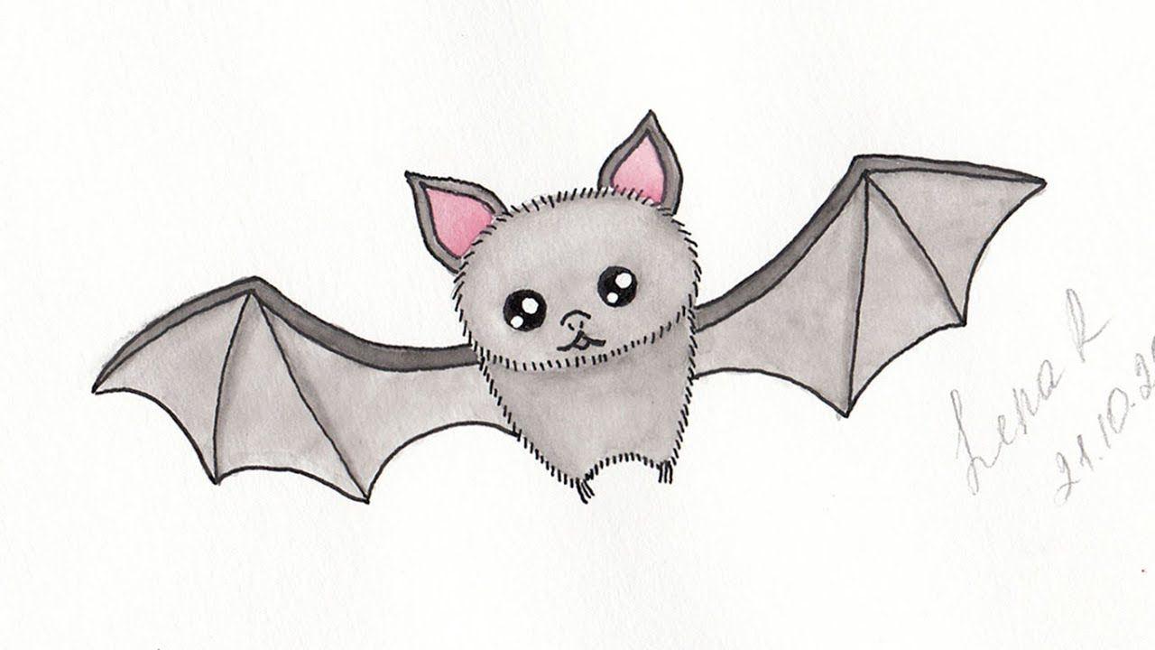 How To Draw A Cute Cartoon Bat Easy Step By Step Halloween