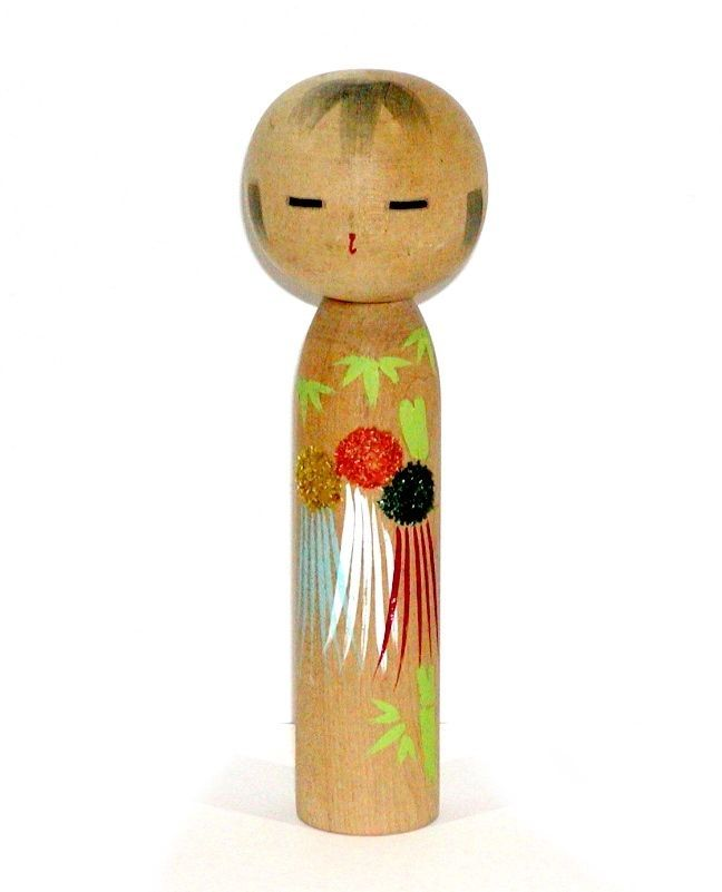 JAPANESE ASIAN WOOD KOKESHI DOLL w/ BEAUTIFUL & COLORFUL STAR FESTIVAL  KIMONO ! #Dolls