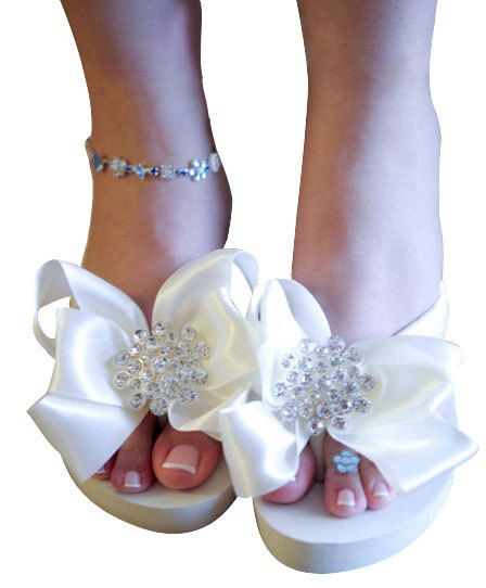 36869d72c Ivory White Bridal Flip Flops Jewel Flat Wedge Rhinestone Satin Rhinestone  Bow Wedding Bride platform heel Wedding Ribbon bridesmaids