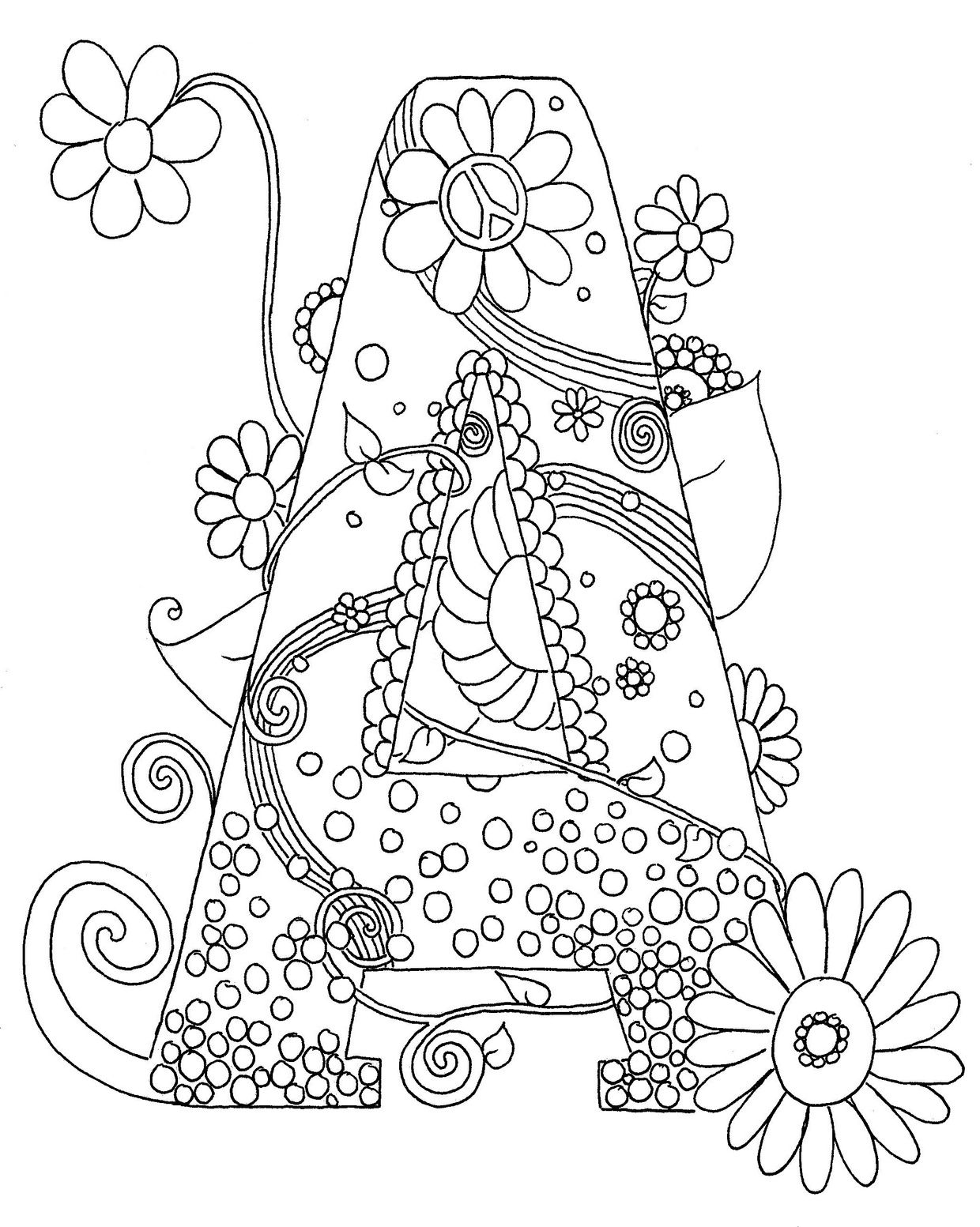 Letter A Hippy Initial Coloring Page