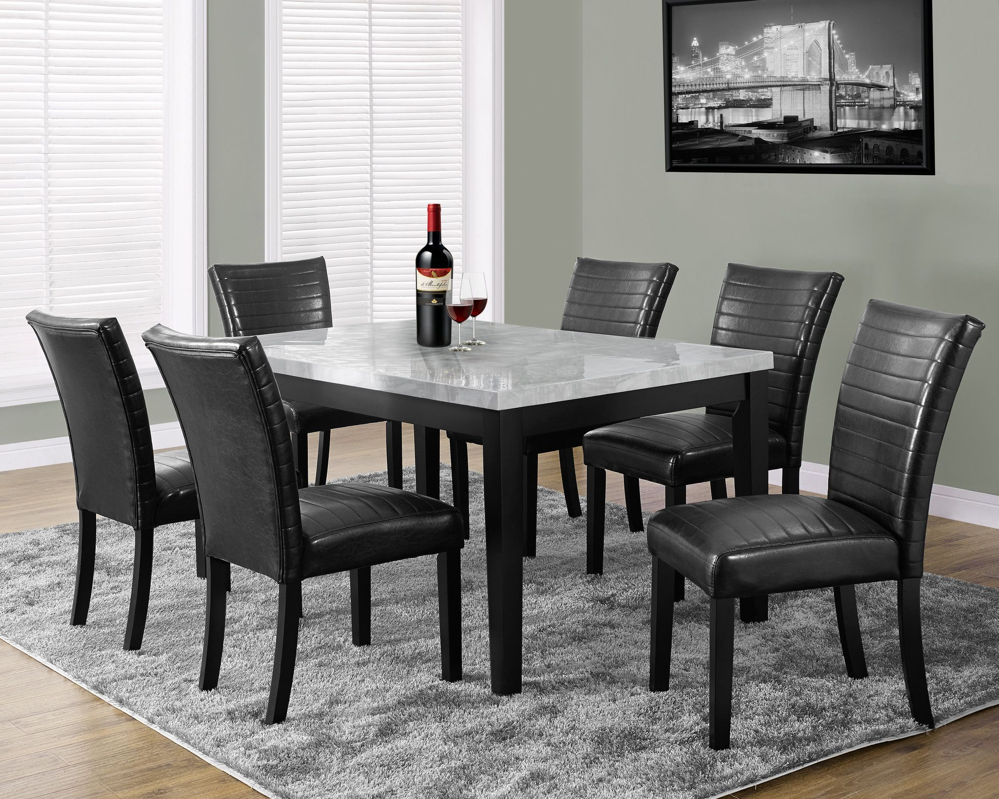 """Dining Table - 38""""X 64"""" / Grey Laquered Marble-Look 