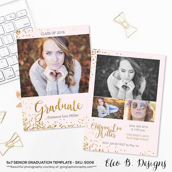 5x7 senior announcement photography senior graduation card template senior announce photoshop template s006 instant download