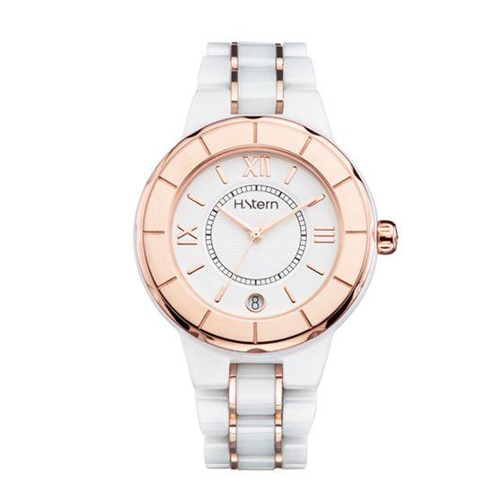 c6a47843491 23 relógios para homenagear o Outubro Rosa. Relógio feminino de cerâmica  branca ...