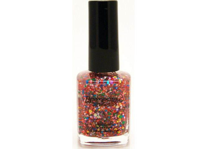Geek Chic -Transparent base with rainbow glitters.Fun, stunning nail wear!15ml / .5oz bottle polishAll Animeniac  polishes are 3 Free, meaning they are formaldehyde, toluene and DBP Free. They are chip resistant, and long wearing.  Our iridescent, holo, matte glitters and mica blends give that perfect sparkle.Please Note: Current order processing time is running 2-4 business days from date of order/payment.
