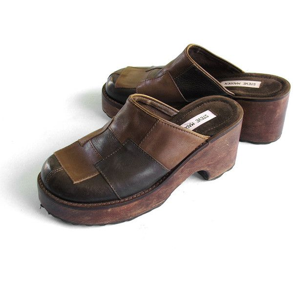 90s Steve Madden Patchwork Leather and Wood Clogs ($50) ❤ liked on Polyvore  featuring