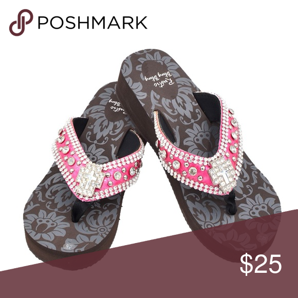 13e77bf35fc4 Cross Concho Women s Flip Flops COLOR HOT PINK AVAILABLE SIZE EXTRA LARGE  FITS 11 Straps made
