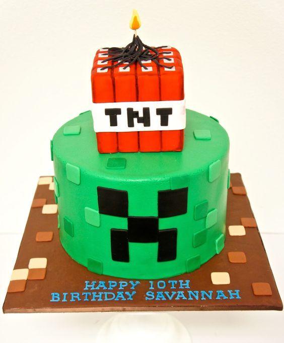 Sensational Minecraft Creeper Tnt Birthday Cake Theflowershop Ae 39476 Funny Birthday Cards Online Inifofree Goldxyz