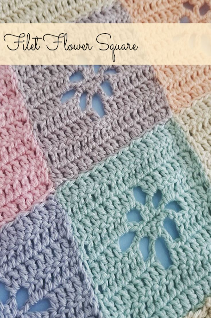 Filet Flower Square – FREE Pattern | Colchas tejidas, Para bebés y ...