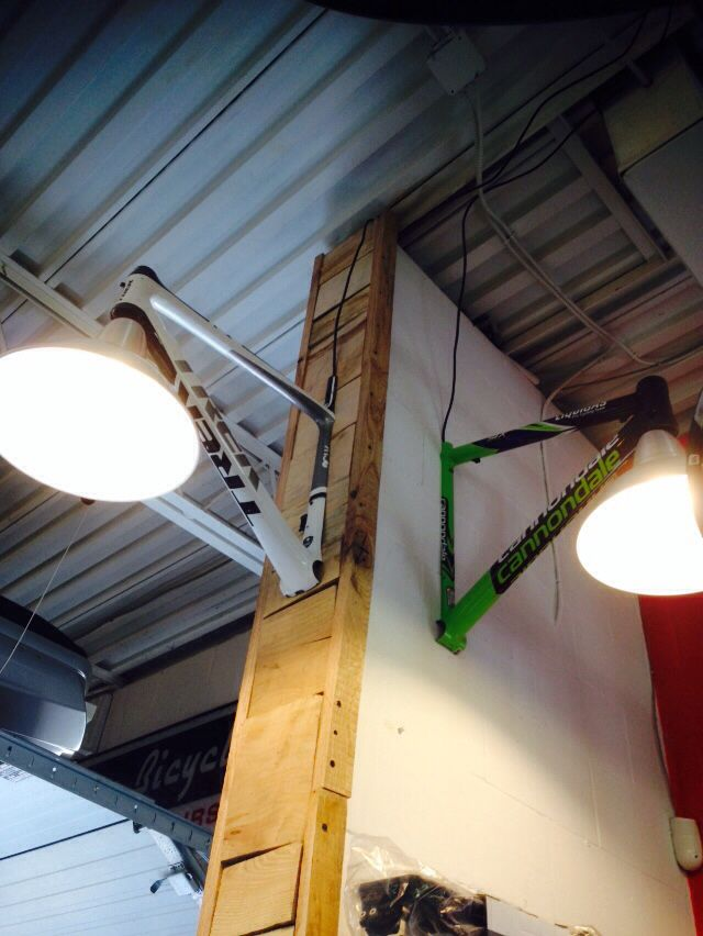 repurposed bicycle frames made into lamps for more great pics follow