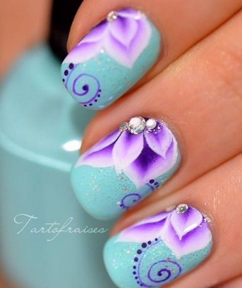Turquoise And Purple One Stroke Flower Nails