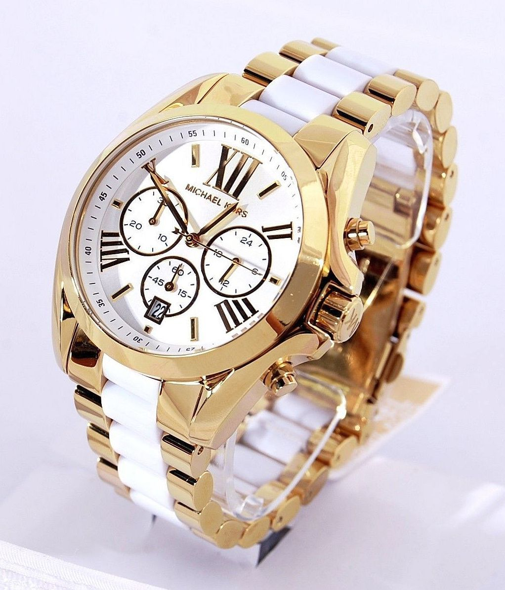 ffa205513ed Discover ideas about Love Sparkle. Michael Kors Watch (Women s Pre-owned  Bradshaw Gold-tone   White Acrylic ...