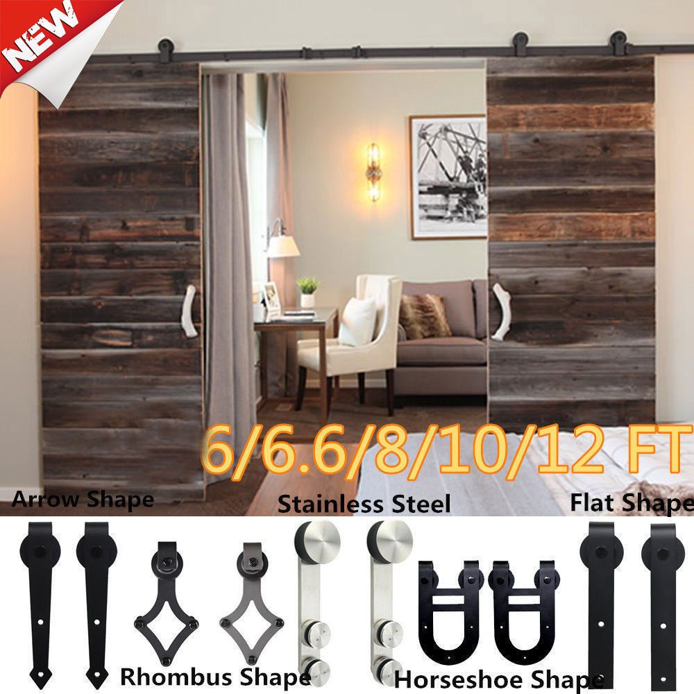Wood 5 12 Ft Antique Sliding Barn Door Hardware Rustic Roller Track Kit Unbranded Rustic Hardware Antique Barn Wood Sliding Barn Door Hardware