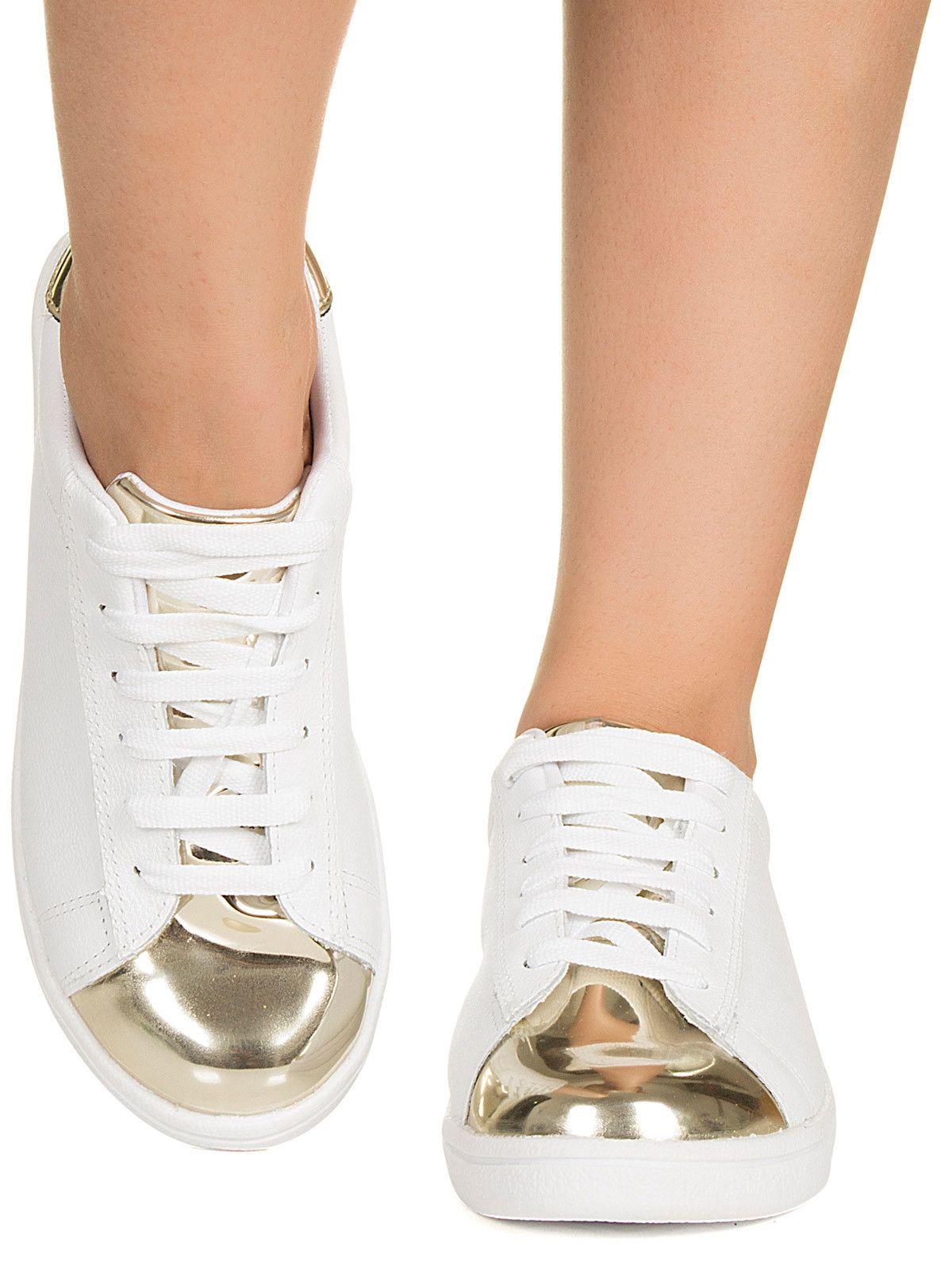 0692378613 Tênis branco e dourado Taquilla - Taquilla - Loja online de sapatos  femininos