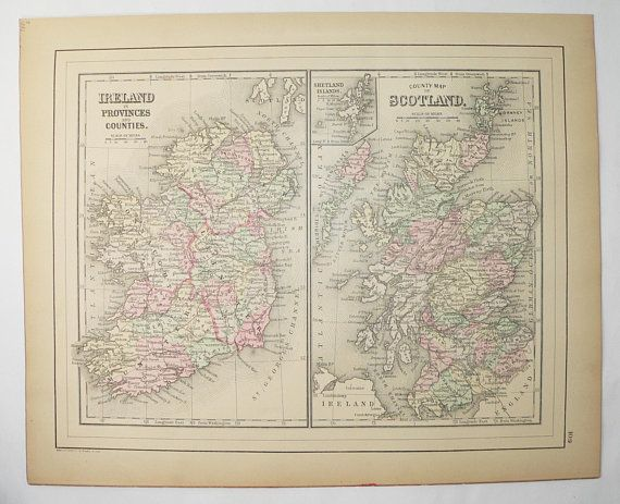 1886 Ireland Map Scotland Antique Map Unique Wedding Gift For