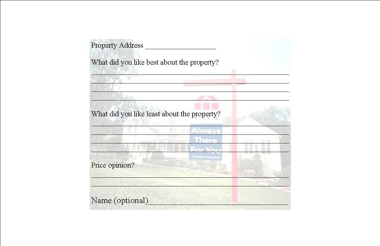 Broker Open House Feedback Form  For The Home    Open