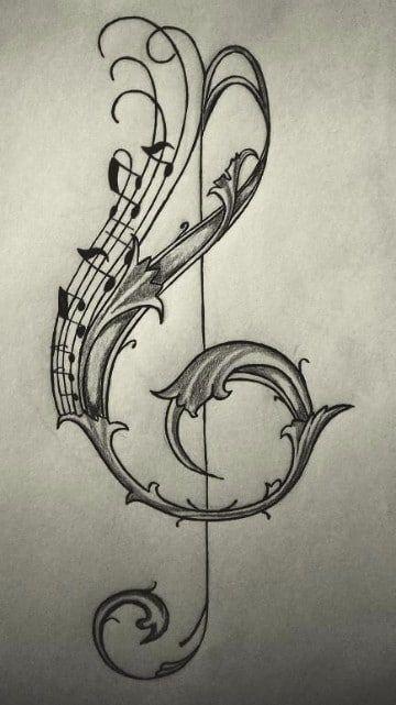 Simbolicos y universales tatuajes de signos musicales