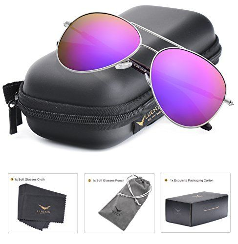 40f3817371 LUENX Aviator Sunglasses Womens Polarized Mirror Purple Lens Silver Metal  Frame Large 60mm     You can get more details by clicking on the image.