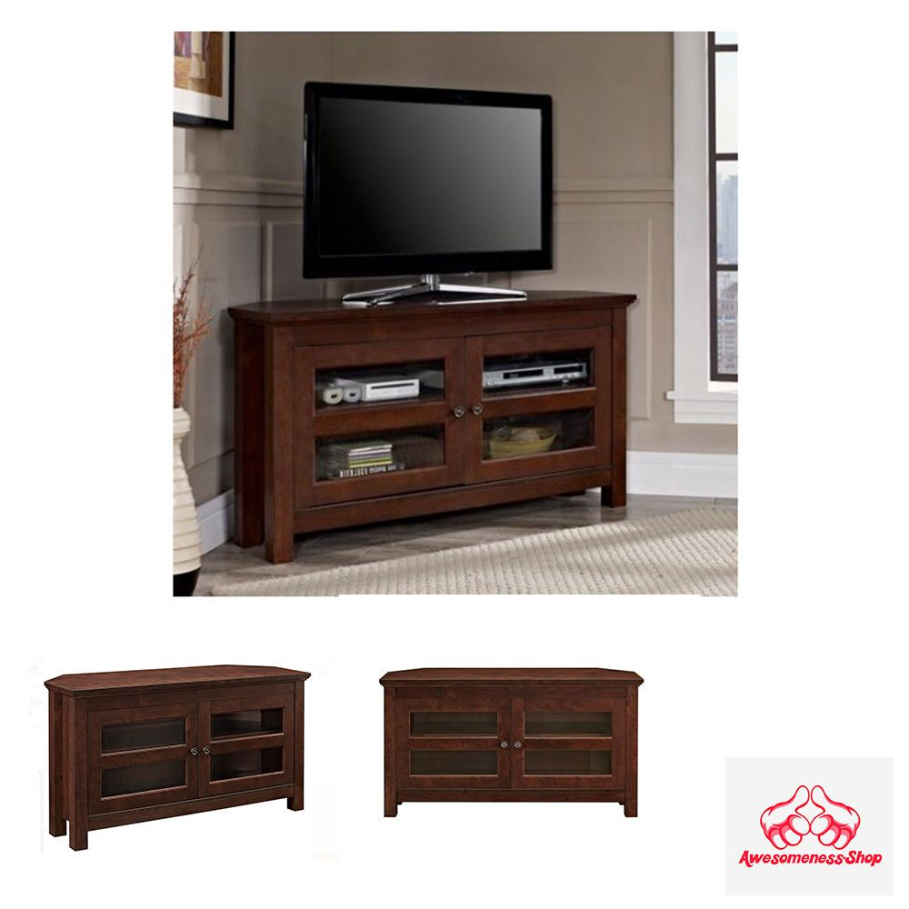 Corner Flat Screen Tv Stand Cabinet Home Entertainment Center Console Wood Media
