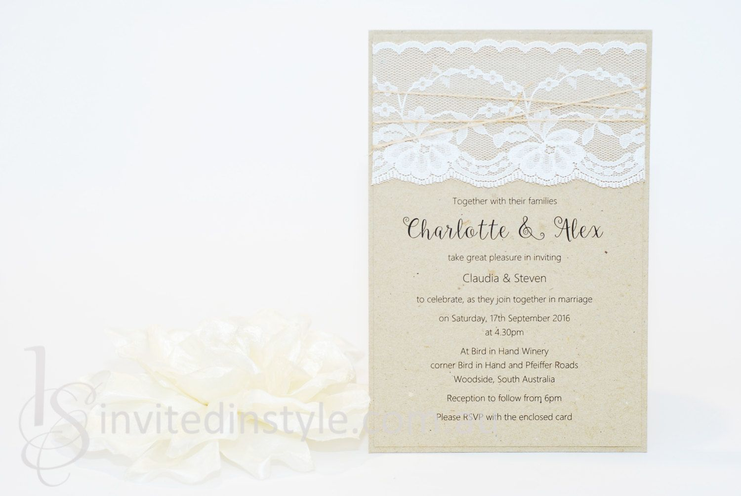 Rustic Vintage Lace Handmade Pocket Wedding Invitation