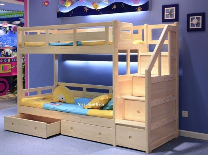Solid Pine Wood Traditional Wooden Bunk Beds With