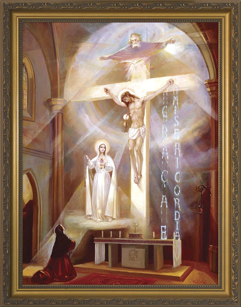 Last Vision of Fatima Framed Art - Gold Frame - Catholic to the Max - Online Catholic Store