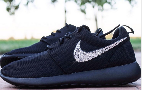 estynice.com 52%-off Sneakers Silver Bling Nike Roshe swarovski All Black