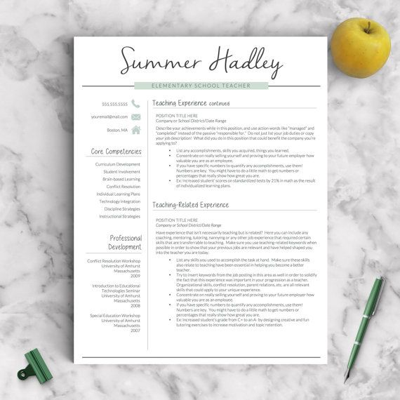 Teacher Resume Teacher Resume Template For Word And Pages  13 Page Educator
