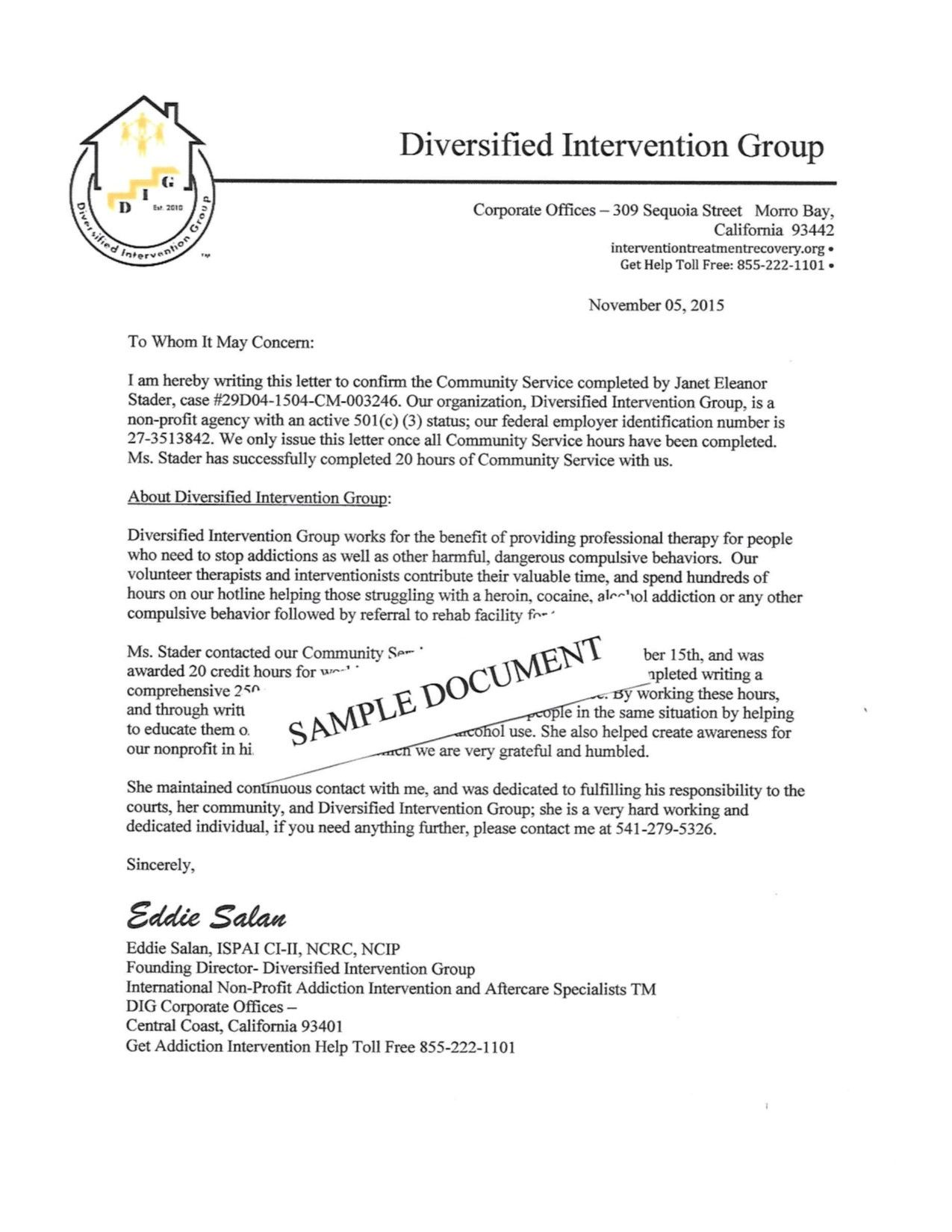 Community Service Hours Completion Letter Template Luxury Munity